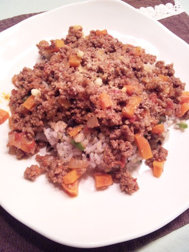 Meat Sauce Over Fried Rice