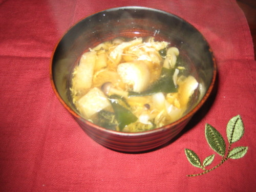 A filling Miso Soup with Cabbage, Shimeji, and Eggs