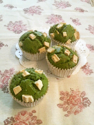 Matcha Muffins with White Chocolate