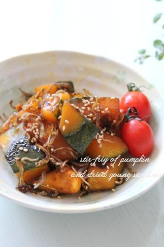 Stir-fried Kabocha and Jako with Butter and Soy Sauce