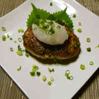 Tofu Hamburger Steaks with Refreshing Grated Daikon Radish on Top