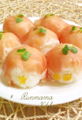 Sushi Balls with Cured Ham & Corn