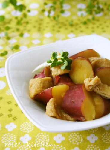 Stewed Sweet Potatoes and Deep-Fried Tofu