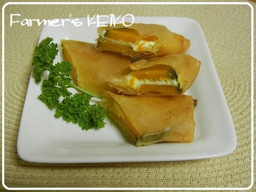[Farmer's Recipe] Kabocha Spring Rolls with Cream Cheese