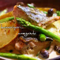 Autumn Salmon and Potatoes with Cream Sauce