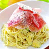 Cured Ham and Avocado Green Pasta