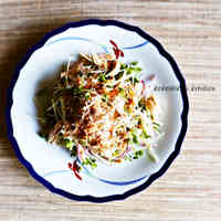 Salad with Microwave-Steamed Chicken Tenders & Daikon Sprouts