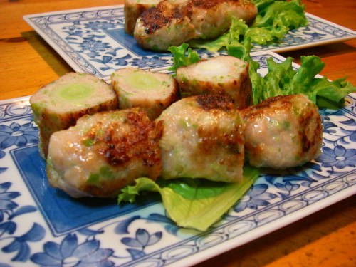 Salty Tsukune (Chicken Patties) with Japanese Leeks