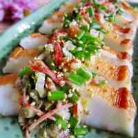 Sautéed Hanpen Fishcake with Sesame Seed and Japanese Leek Sauce