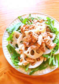 Lotus Root, Tuna and Natto Salad