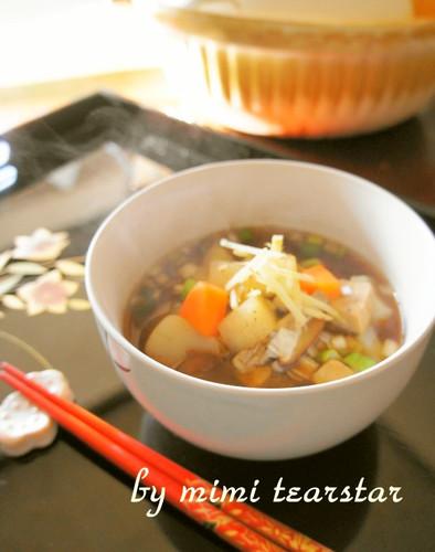 Slightly Spicy Rikyu-jiru, A Shojin Ryori Soup With Red Miso