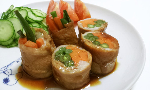 Meat Wrapped Green Beans and Carrots