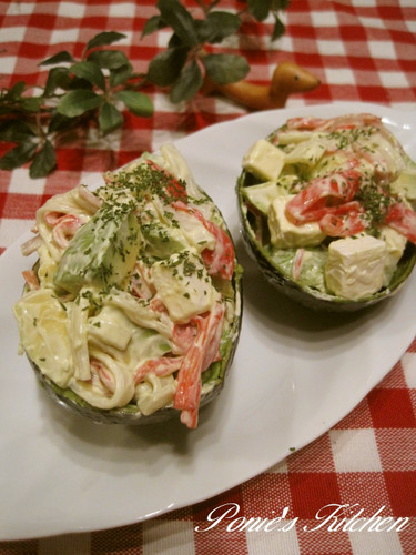 Avocado and Crabstick Mayonnaise Salad