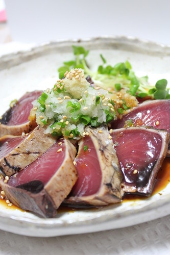 Seared Bonito with Ginger and Grated Radish