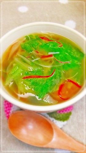 Lettuce and Crabstick Ginger Soup