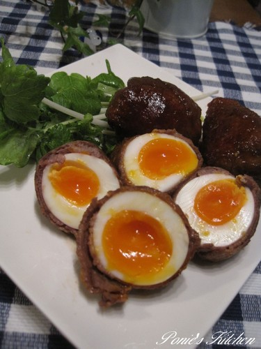 Meat-Wrapped Soft-Boiled Eggs for Bentos