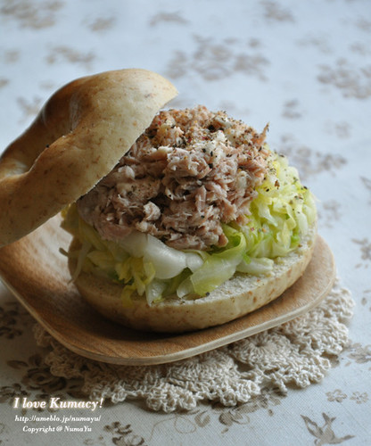 Bagel Sandwich Loaded with Cabbage and Tuna