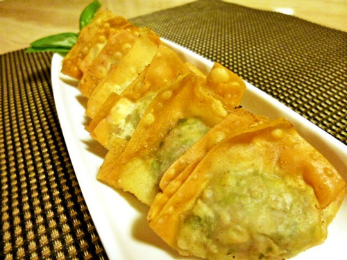 Fried Wonton Dumplings with Chrysanthemum Leaves Seasoned with Yuzu Pepper Paste