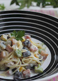 Excellent! Eggplant and Bacon Cream Pasta