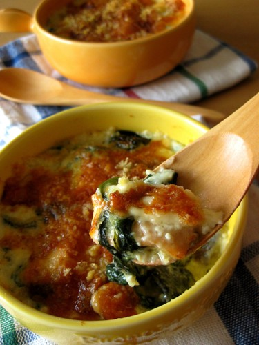 Salmon and Spinach Japanese Style Gratin