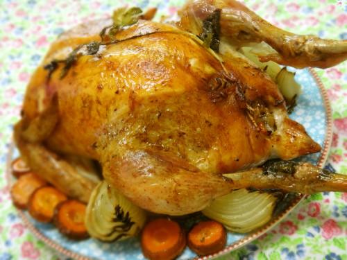 Seasoned Mochi Sticky Rice Stuffed Roast Chicken for Christmas
