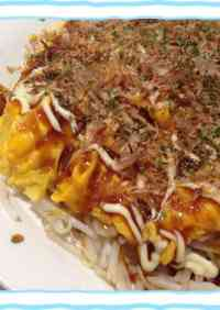 Easy Mock-Okonomiyaki (Savory Japanese Pancake) with Bean Sprouts and Eggs