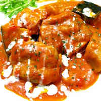 Simple! Chicken and Kabocha Simmered in Tomato Cream Sauce