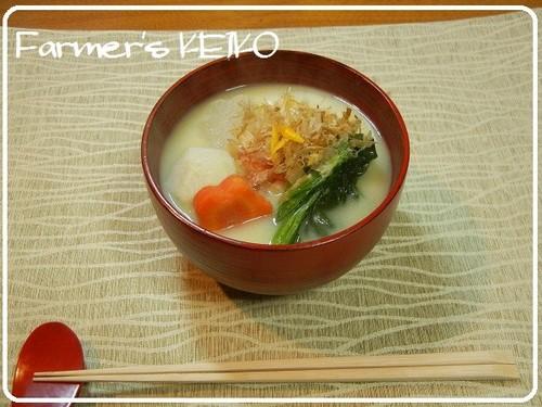 [Farmhouse Recipe] Ozōni Mochi Soup (with Kyoto-Style White Miso)
