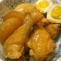 Simple Simmered Chicken Drumsticks, Daikon Radish & Eggs