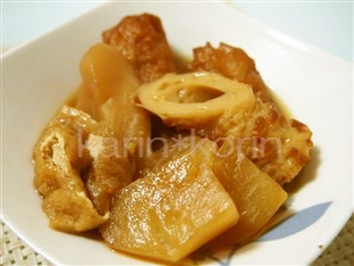 Easy Simmered Turnips, Abura-age, and Chikuwa