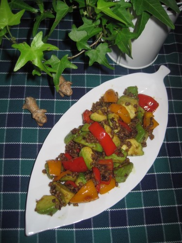 Avocado and Minced Meat Stir-fry with Wasabi Soy Sauce