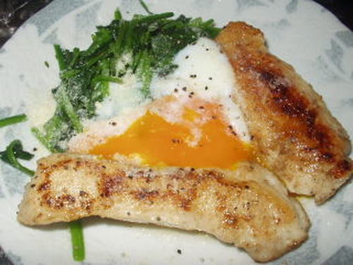 Chicken and Spinach Saute with Soft-Boiled Eggs