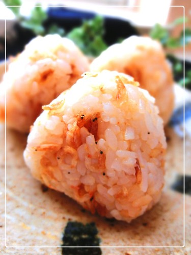 Tempura Crumbs and Small Shrimp (Sakura Shrimp) Onigiri