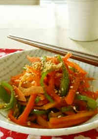 Easily Made in 5 Minutes! Green Pepper and Carrot Kinpira