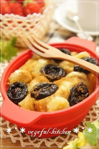 Tea-Infused Bread Pudding with Prunes and Banana