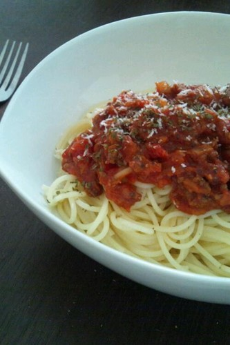 Meat Sauce Spaghetti with Canned Tomatoes