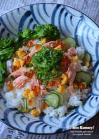Simple ☆ Salmon, Salted Salmon Roe, and Broccolini Chirashizushi