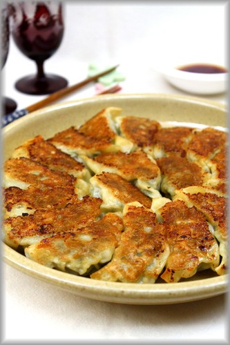 Ground Meat Gyoza Dumplings with Lots of Chrysanthemum Greens