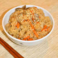 Rice with Maitake Mushrooms Seasoned with Simmered Pork Belly Sauce