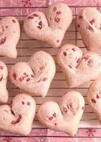 Sakura-Coloured, Heart-Shaped White Bread