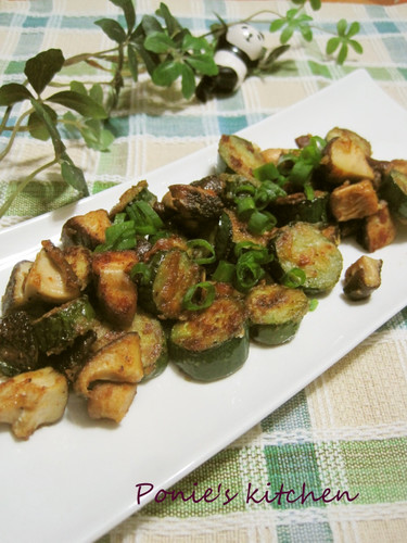 Stir Fried Shiitake Mushrooms and Cucumber With Butter Soy Sauce
