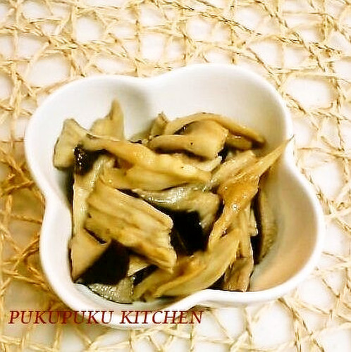 Easy Cooking in a Microwave King Oyster Mushrooms Simmered in Butter and Soy Sauce
