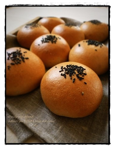 Black Sesame Anpan Flavoured with Brown Sugar (Bread Rolls Filled with Beans Paste)