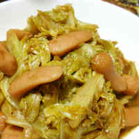 Stir Fried Wiener Sausages and Cabbage with Curry Sauce