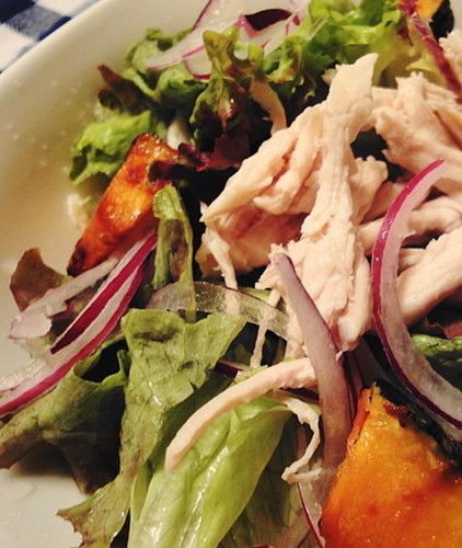 Kabocha and Steamed Chicken Salad