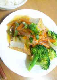 Atsuage with Sweet and Sour Vegetable Sauce
