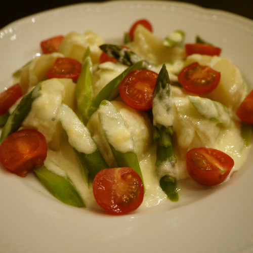 Warm Salad with Rich Cheese Dressing
