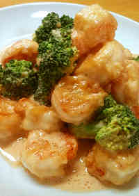 Shrimp and Broccoli with Mayonnaise Sauce