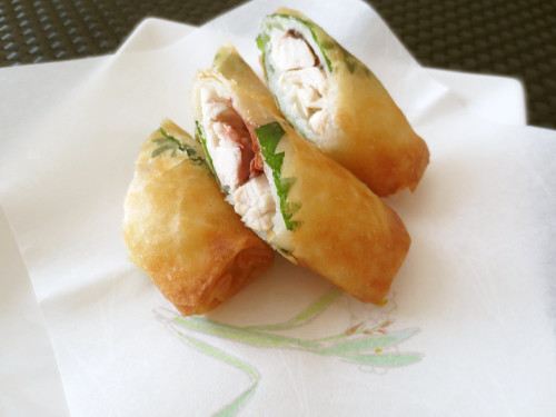Spring Rolls Made with Chicken Tenderloins, Umeboshi (Pickled Plum) and Shiso Leaves