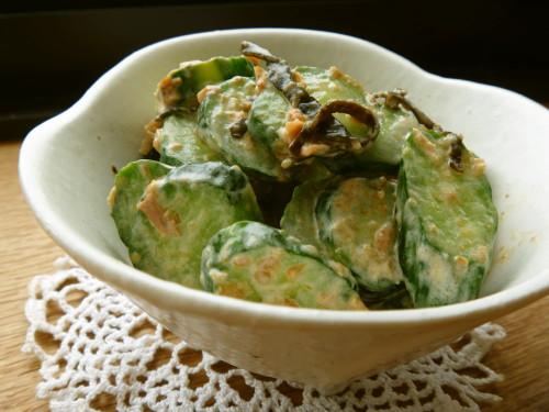 Cucumber with Umeboshi, Dried Bonito Flakes, and Kombu Mayo